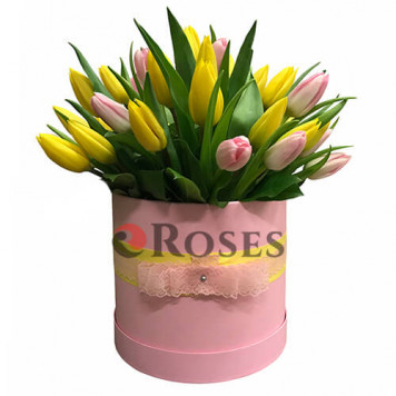 """Flowers in a box """"Leeds"""" 41 tulips"""